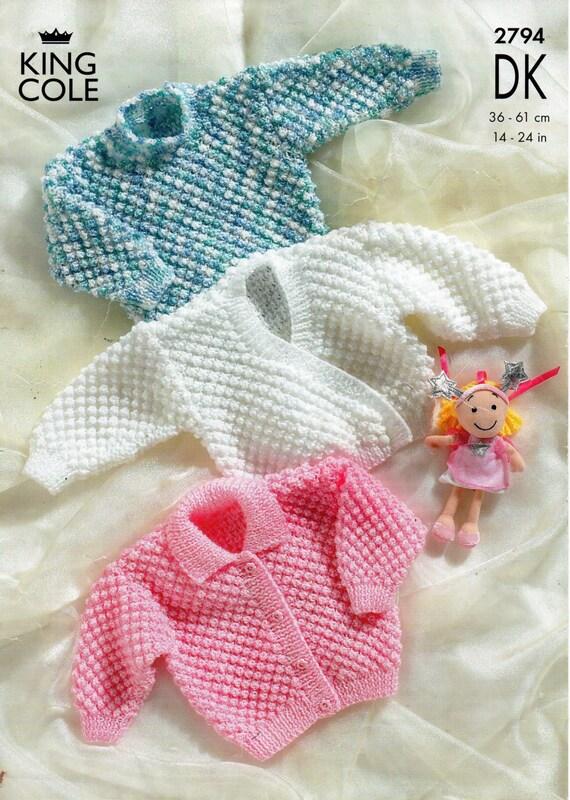 Knitting Pattern For Headbands : baby bobble stitch cardigans & sweater knitting pattern