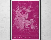 MEXICO CITY MAP Mexico Map Print - Modern City Print Art - Customizable City Map Home Decor Modern City Art Print Giclee Ribba