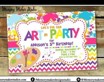 Paint Party Invitation | Art Party | Artist | Choose your own colors | Choose your own wording | Birthday Invitation | Pottery Invitation