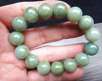 13.6 mm Natural green jade beaded bracelet