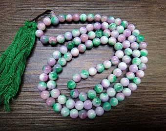33 inches 8 mm natural watermelon jade beads bracelet 108