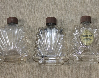 HALF PRICE SALE  Perfume Bottles - Three - Very Fancy All have Lids - Sweat Pea Perfume Bottles - One has label  New York, New York