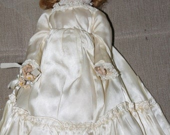 Repair or For Parts, Broken, Hard Plastic Doll, w Original Clothing Which includes Satin Dress, Slip & Underwear, Shoes and Socks, Repair,