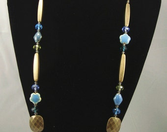 Free shipping,blue stone long necklace,vintage,bangle,personalized,wholesale(XL15)