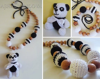 Panda necklace with toy - Teething necklace - Breastfeeding Necklace - Crochet Necklace - Gift for Babywearing Moms