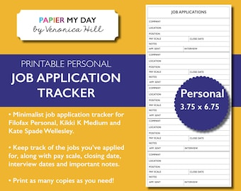 Personal Filofax Job Application Tracker - Job Application Log for Kikki K Medium, Kate Spade Wellesley and Filofax Personal Planners