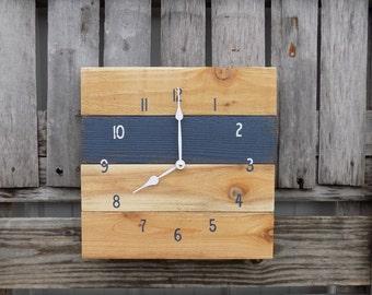 Navy Pallet Clock, Rustic Wall Clock, Primitive Wood Clock, Navy Blue Clock, Navy and White Clock, Wood Wall Clock, Nautical Clock