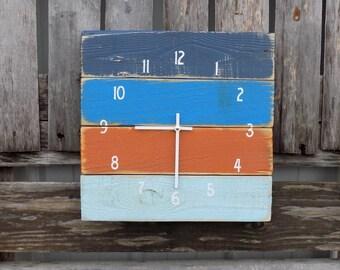 Nautical Clock, Rustic Beach Clock, Primitive Wood Clock, Pallet Clock, Blue and Orange Clock, Rustic Wall Clock, Nautical Beach Clock