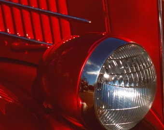 Red Car Headlight Fine Art Photography Wall Photo Print, Classic Car Show Hot Rod Automobile Ford Light Close Up Design