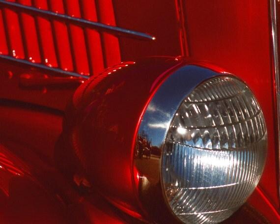 Red Car Headlight Fine Art Photography Wall Photo Print