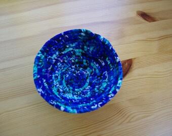 Aqua, Indigo, Purple & Black Small Round Coiled Fabric Basket.2