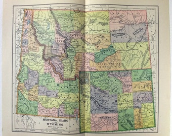 Vintage Original 1891 Map of Montana, Idaho and Wyoming by Hunt & Eaton