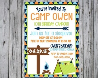 Camping Birthday Invitation, Campout Invitation, Sleepover Invitation, Camping Birthday, Sleepover Birthday, Camping Party, Camp out