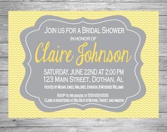 Bridal Shower Invitation, Chevron Bridal Shower Invitation, Yellow and Gray Shower Invitation, DIY Printable Bridal Shower Invitation
