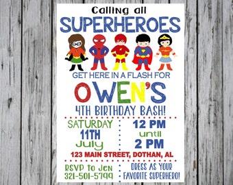 SUPERHERO INVITATION, Superhero Birthday Invitation, Super hero Invitation, Superhero Party, Superhero Birthday, Superhero Invite