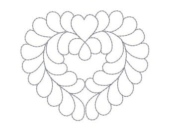 Embroidery Design Heart Valentines Pattern Redwork Bluework Scroll Wreath