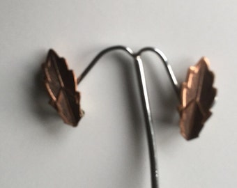 Vintage Arts & Craft Copper Clip On Earrings Feather design