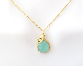 Personal, Letter, Initial, Mint, Stone, Gold, Necklace, Custom, Hand stamped, Alphabet, Initial, Necklace, Birthday, Friends, Wedding, Gift