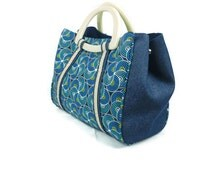 Sale 50% off: Handbag in blue, yellow and white ankara prints with matching shoe clips