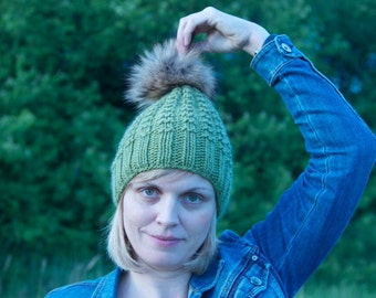 Kiwi hat Green kiwi  wool beanie hat