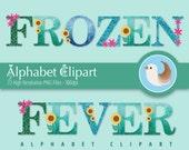 Frozen Fever Alphabet Clipart - Frozen Fever Clipart - Alphabet Clipart - Frozen Clipart - Set of 72 Clipart Designs