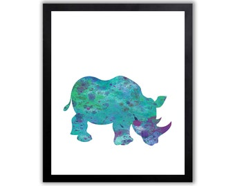 Rhino Art Print - Animal Art Print - Safari Wall Decor - SA021