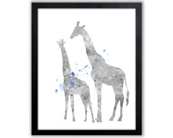 Boys Giraffe Art, Blue And Gray Nursery Decor, Giraffe Nursery Art For Boys Playroom - GI015
