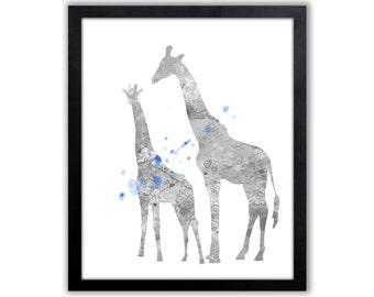 Boys Giraffe Art, Blue And Gray Nursery Decor, Giraffe Nursery Art For Boys Playroom