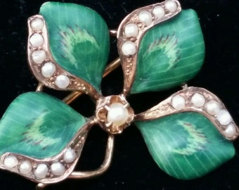 Antique 10k Gold Enamel Pearl Shamrock 4 Leaf Clover Brooch Pin Estate Jewelry