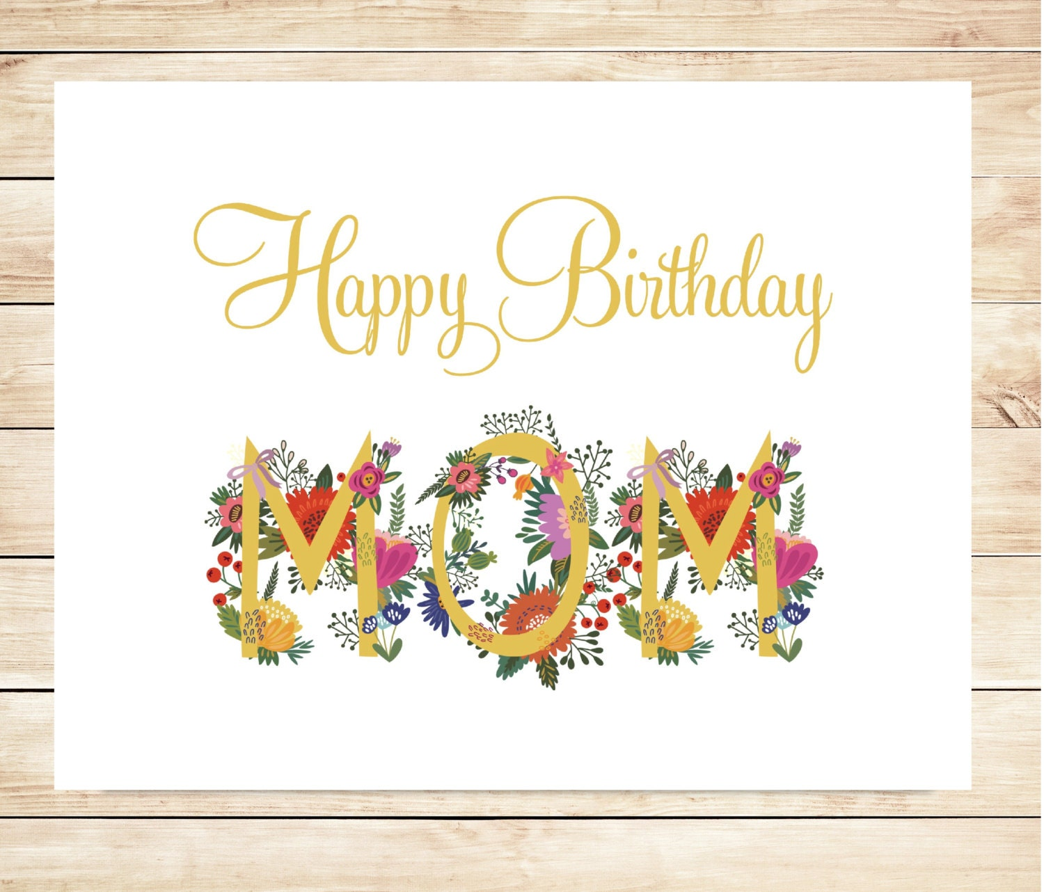 Sizzling image for printable birthday card for mom