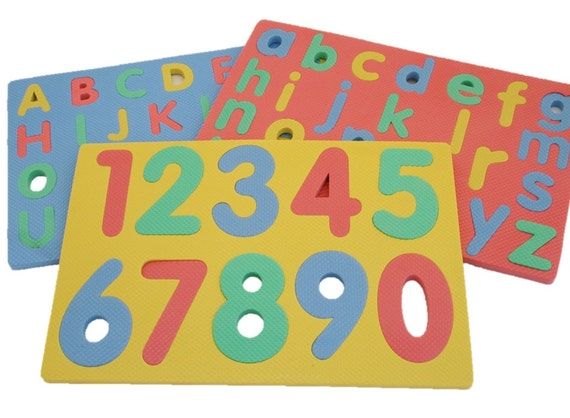 Set Of 3 Foam Puzzle Mats Numbers Capital And Lower Case