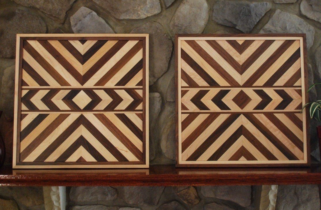 Matching Aztec Wood Art Native American Geometric Design Wood