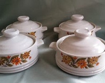 Retro Capri Bake Serve 'n Store Stoneware Individual Casserole with Lid. Four Stackable Stoneware