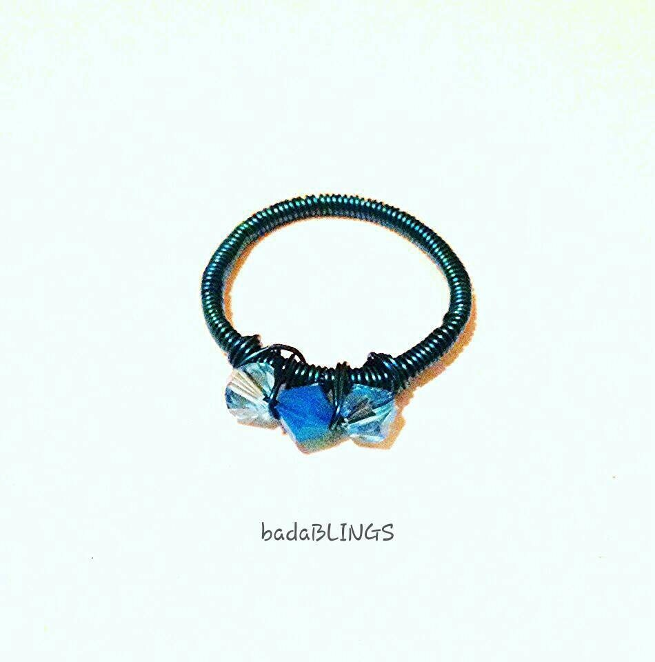 Wire Ring Beads: Teal Wire Ring Teal Ring Wire Ring Swarovski Beads