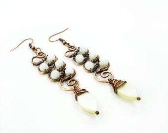 Wedding earrings, white earrings, wrap earrings, copper wire earrings, wire wrap earrings, dangling earrings, handmade earrings, ooak