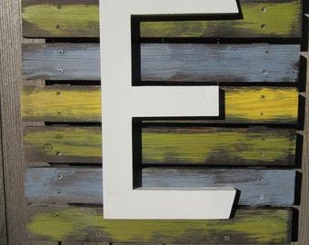 Letter E Reclaimed Wood Sign
