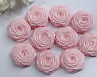 10 Small Handmade Satin Ribbon Roses In Light pink(1 inches), Ready To Ship