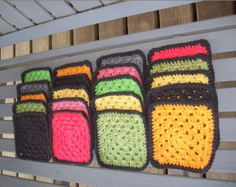 Set of 20,Granny Squares,Solid Colors,Supplies,Crafts,Crochet,5x5inches,Clothing,Bags,Afghans,Lapghans,Blankets,Clothing