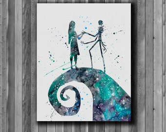 Jack Skellington and Sally watercolor, Nightmare Before Christmas - Art Print, instant download, Watercolor Print, poster