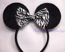 Minnie Mouse Ears - Zebra Stripes Print Bow Black & White Headband Rockabilly 50's Pin Up Mickey