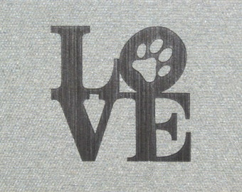 Love Puppy Dog Paw Wood Wall Sign NY Square Style