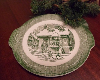 Currier And Ives, Old Curiosity Shop Pattern, Plate With Handles, 11 1/2 inches