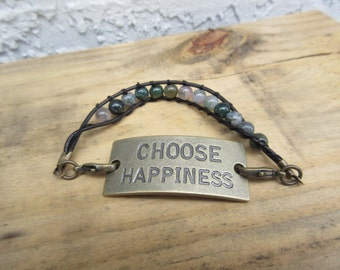 """Lovely Bohemian jewelry Hippy Gypsy metal INSPIRATIONAL saying Natural Gemstone bead bracelet  """"CHOOSE HAPPINESS"""" Jewelry for the soul"""