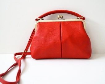 "Leather handbag ""Small Olive"" in red, vintage ladies bag, handbag, shoulder bag, genuine leather, leather bag, purse"