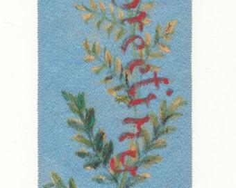 Blue Floral 1890 - 1891 Silk Greeting Ribbon