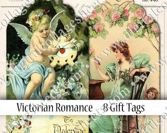 8 Scalloped Gift Tags Digital Collage Sheet Vintage Victorian Valentines Instant Download Mixed Media Altered Art Images dcs448