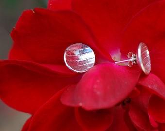 Domed Sterling Silver Earrings.