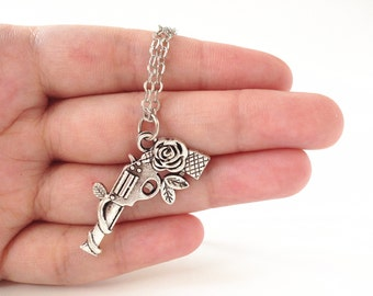 Guns and Roses Necklace,Guns n Roses Necklace,Gun Rose Necklace,Gun Necklace,guns n roses