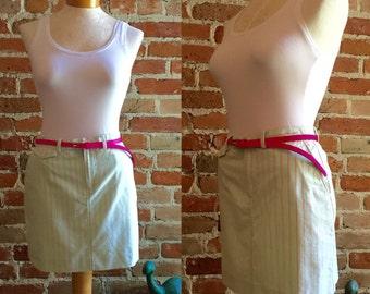 Women's Vintage Ralph Lauren Mini Skirt in Lime & Pink, Size 2