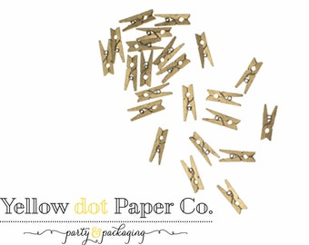 Gold Mini Clothespins, Mini Clothespins, Wedding Favor, Baby Shower Favor, DIY wedding, Yellowdotpaper